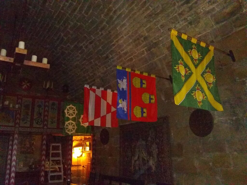 Knights of the Order's banners at Balgonie Castle, Scotland